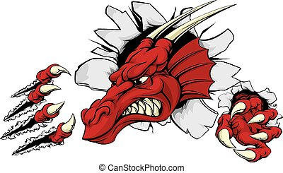 vermelho, dragão, mascote, quebrando, parede