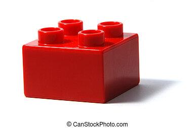 vermelho, duplo, bloco edifício