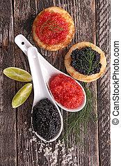 vermelho, e, caviar preto