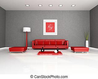 vermelho, e, cinzento, sala de estar
