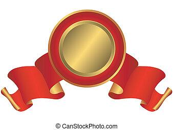 vermelho, e, dourado, distinção, (vector)