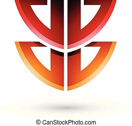 vermelho, e, laranja, escudo, semelhante, forma, de, letra b, vetorial, ilustração