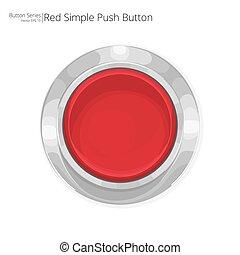 vermelho, empurrão, button.