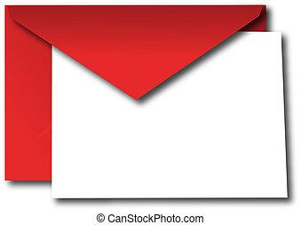 vermelho, envelope, com, em branco, cartão