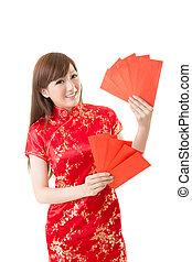 vermelho, envelope, mulher chinesa