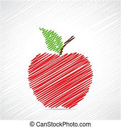 vermelho, esboço, maçã, desenho