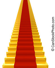vermelho, escadas, dourado, tapete