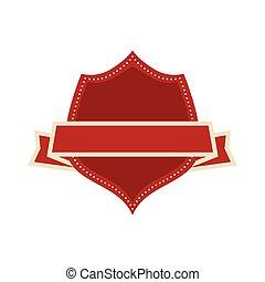 vermelho, escudo, com, etiqueta