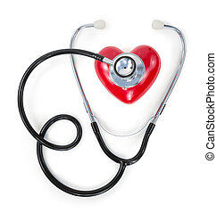 vermelho, estetoscópio, coração