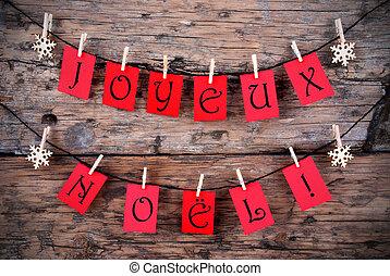 vermelho, etiquetas, com, joyeux, noel