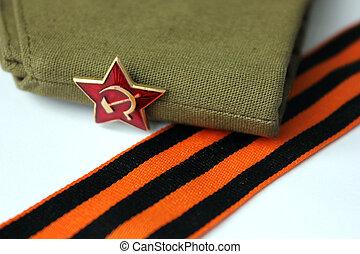vermelho, exército, homem, guarnição, boné