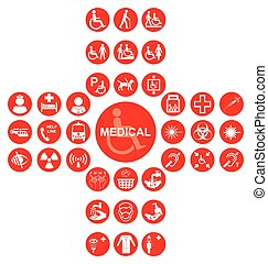 vermelho, exame médico saúde, cuidado, ícone, cobrança