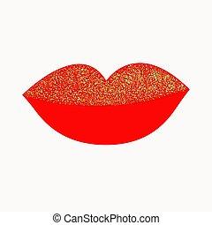 vermelho, experiência., isolado, lábios, grossas, cheio, desenho, apartamento, grande, branca, brilhar, ouro