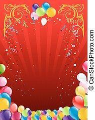 vermelho, feriado, fundo, com, balões
