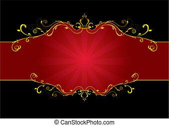 vermelho, floral, etiqueta