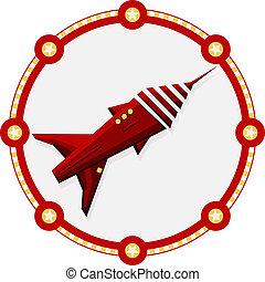 vermelho, foguete espacial, com, um, redondo, quadro, -, vetorial