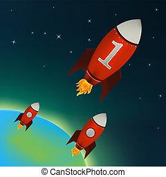 vermelho, foguetes, voando, em, espaço exterior
