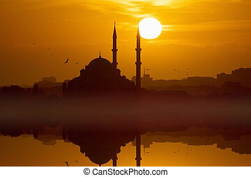 vermelho, glowing, pôr do sol, em, istambul, peru