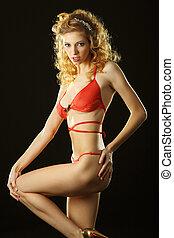 vermelho-haired, charming, brincalhão, erótico, langerie, lingerie., menina, vermelho