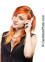 vermelho-haired, menina, falando, ligado, a, smartphone