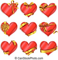 vermelho, heart-shaped, cartões