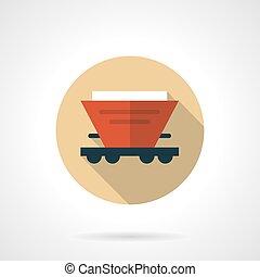 vermelho, hopper, car, bege, redondo, vetorial, ícone