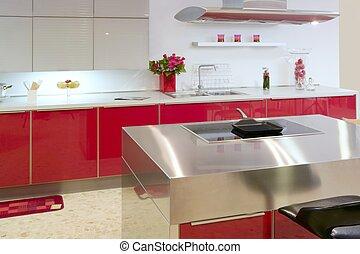 vermelho, ilha, cozinha, prata, modernos, interior, casa