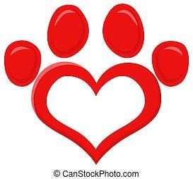 vermelho, ilustração, pata, logotipo, impressão, apartamento, vetorial, desenho, amor