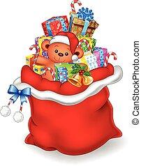 vermelho, ilustração, saco
