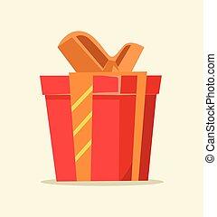 vermelho, isolado, caixa presente, icon., vetorial, apartamento, caricatura, ilustração