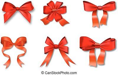 vermelho, jogo, arcos, presente, ribbons.