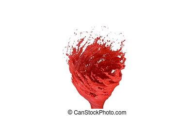 vermelho, líquido, tornado, branco, experiência., bonito, colorido, pintura, é, whirling., isolado, transparente, vórtice, de, líquido, semelhante, car, pintura, animação 3d, com, alfa, matte., versão, 3
