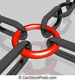 vermelho, link, cinzento, fundo, mostra, força, segurança