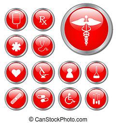 vermelho, médico, botões