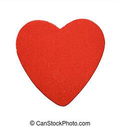 vermelho, madeira, coração, isolado, branco, fundo