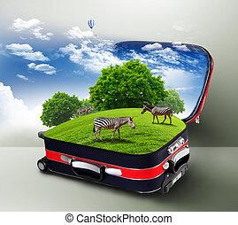 vermelho, mala, com, verde, natureza, dentro