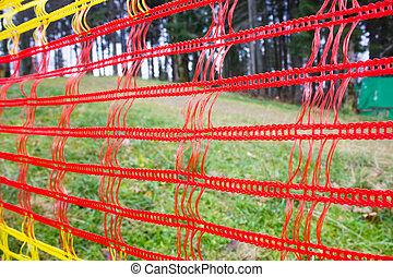 vermelho, malha, penduradas, parque