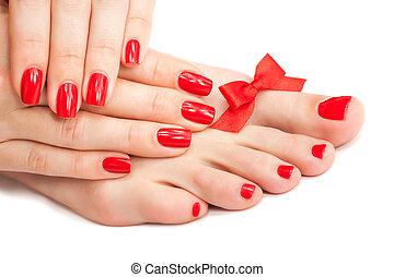 vermelho, manicure, e, pedicure, com, um, arco