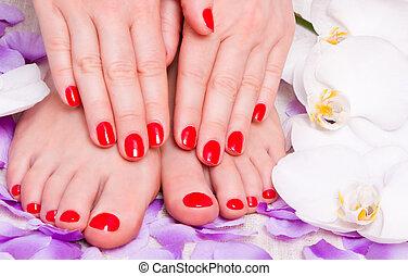 vermelho,  manicure,  pedicure