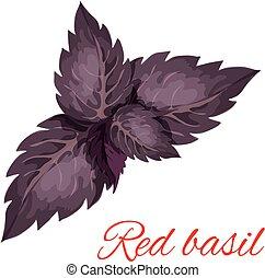 vermelho, manjericão, erva, folhas, isolado, emblema