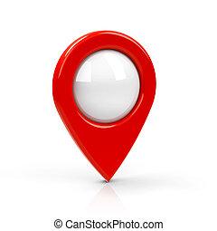 vermelho, mapa, ponteiro, em branco