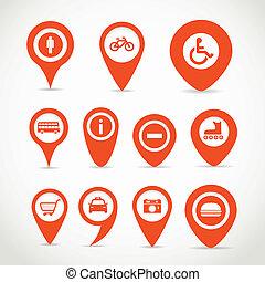 vermelho, mapa, sinais
