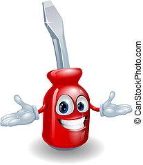 vermelho, mascote, chave fenda