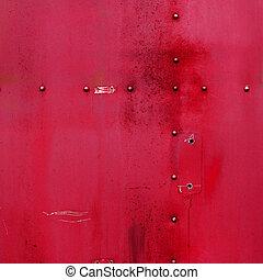 vermelho, metal, textura