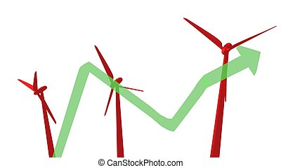 vermelho, moinhos vento, com, seta, 3d, render