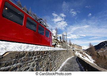 vermelho, montanha, trem