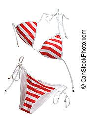 vermelho, mulher, terno natação, isolado, branco