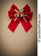 vermelho, nó, ligado, experiência dourada, feriados, conceito