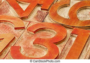 vermelho, número, abstratos