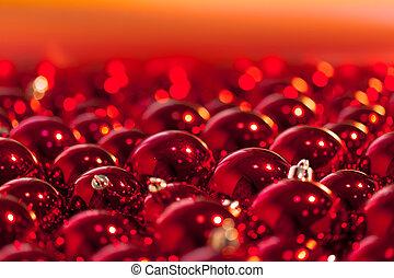 vermelho, natal, bolas